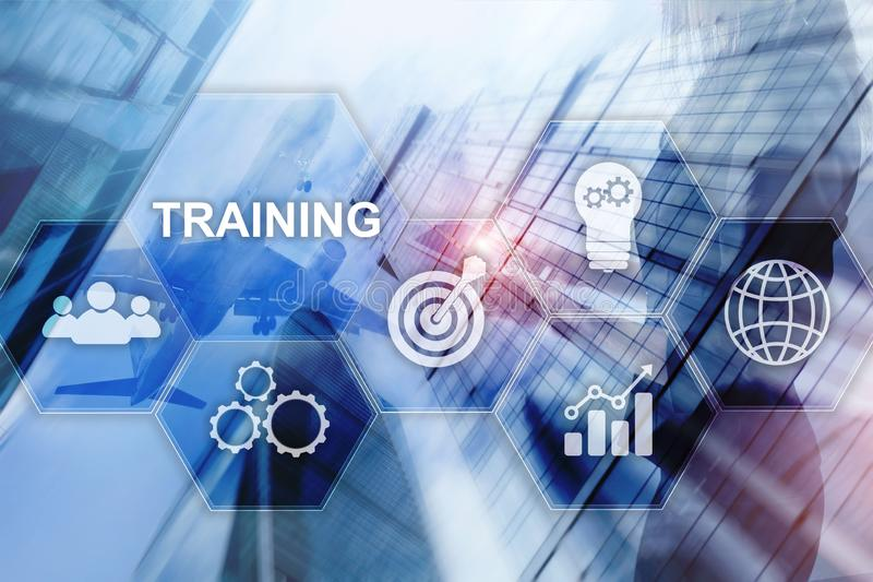 Business training concept. Training Webinar E-learning. Financial technology and communication concept. royalty free illustration