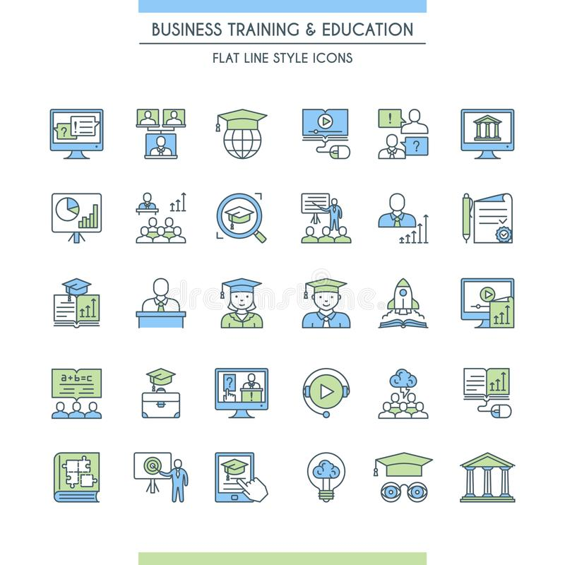 Business training and education icon set. Consulting, learning and teaching. Professional and career growth. Vector illustration stock illustration
