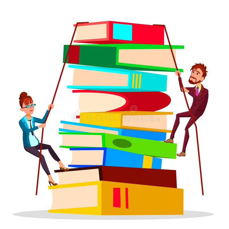 Business Training. Female And Male Business People Climbing Onto Large Stack Of Books Vector Flat Cartoon Illustration stock illustration