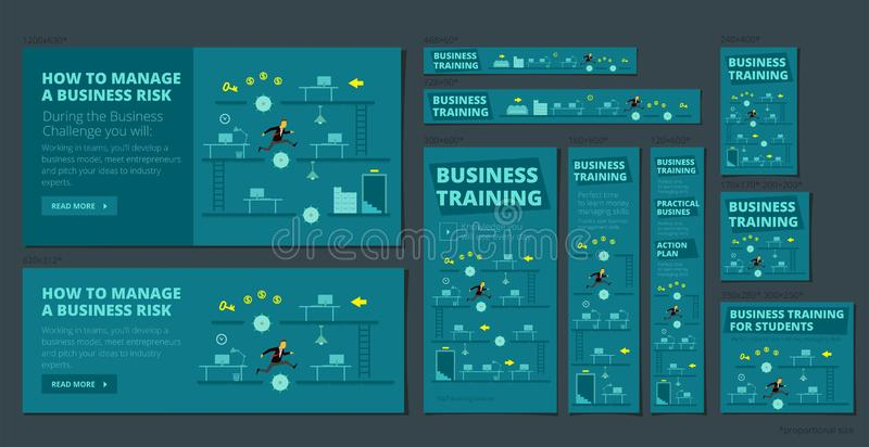 Business training game and competition. A set of banners all standard sizes for web. Dark blue version. royalty free illustration