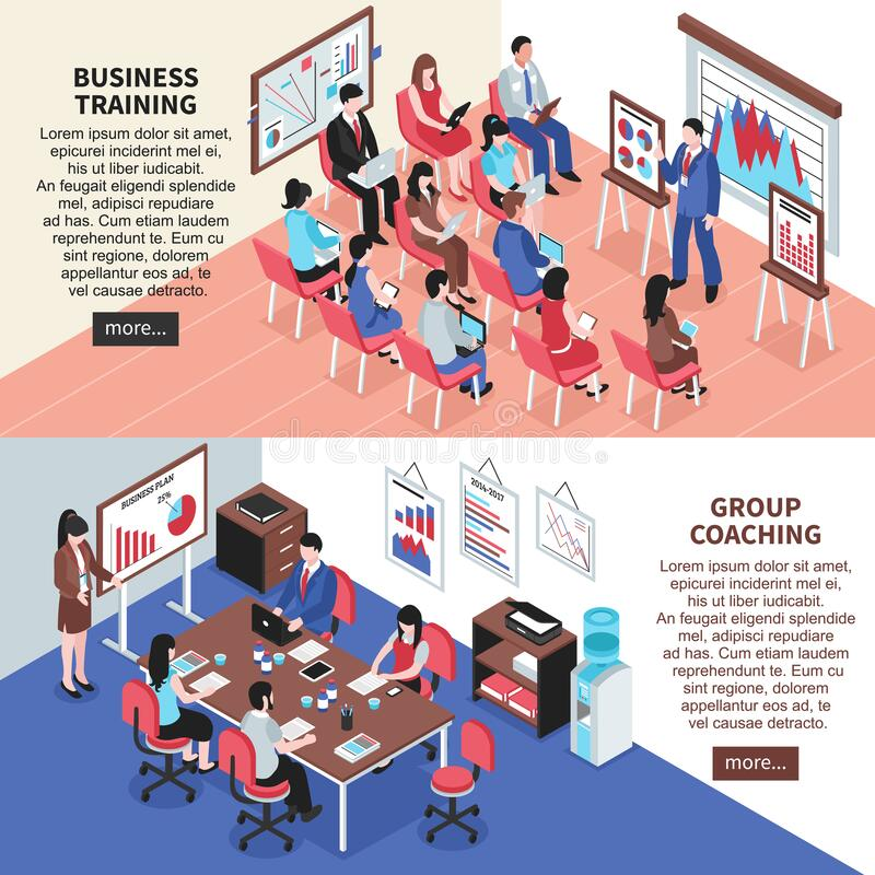 Business Training And Group Coaching Banners Stock Vector Illustration Of Corporate Career 181004937