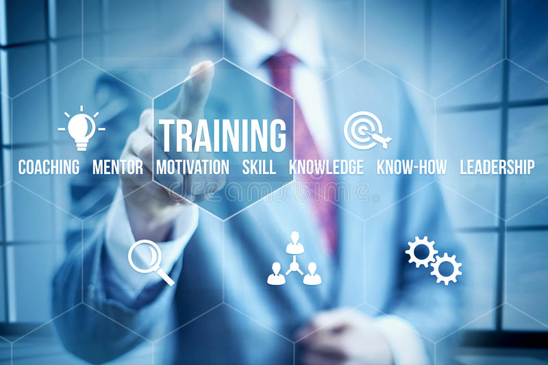 Business Training. Business mentoring concept, businessman selecting interface stock images