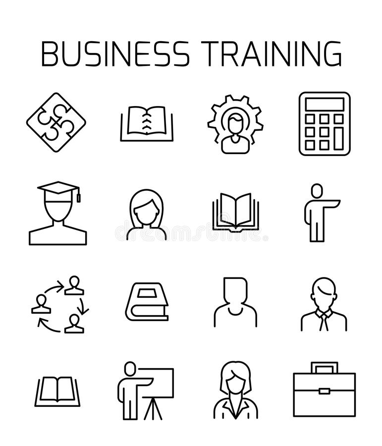 Free Business Training Related Vector Icon Set. Stock Photo - 114591050