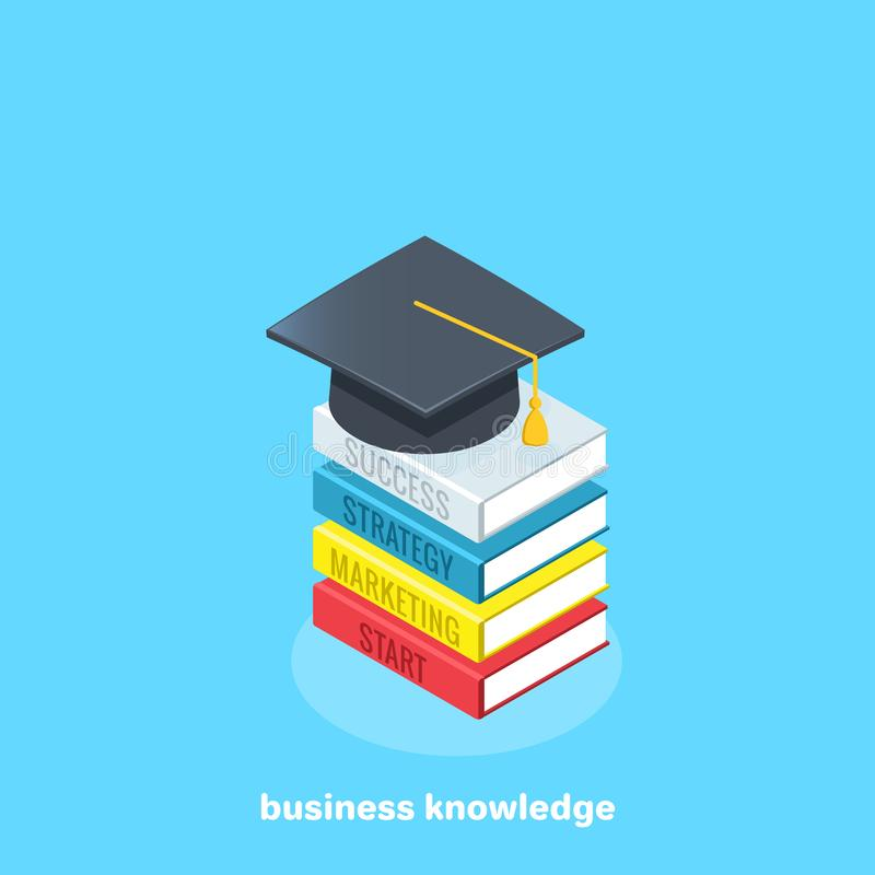 Business training, a stack of books and a bachelor`s hat. An isometric image royalty free illustration