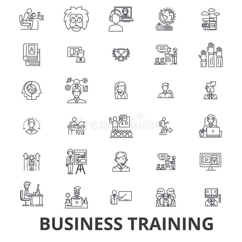 Business training, training session, learning, business meeting, presentation line icons. Editable strokes. Flat design. Vector illustration symbol concept stock illustration