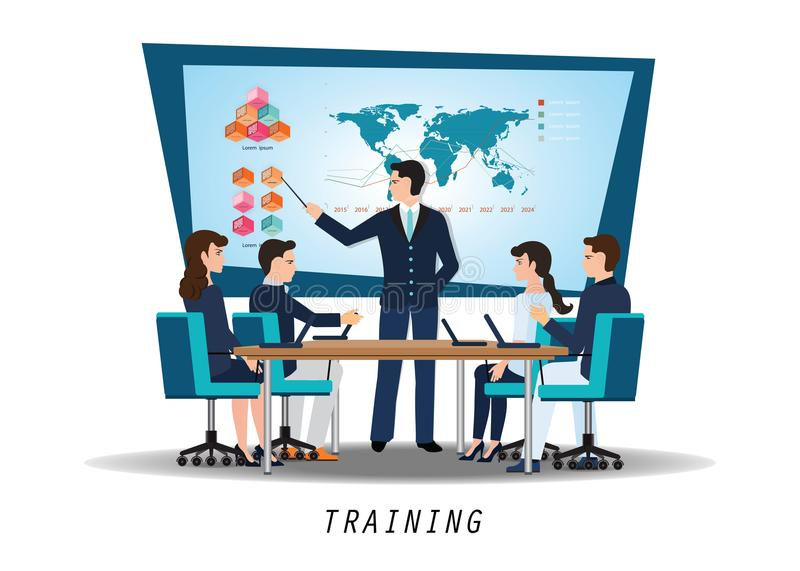 Business training with young people attending the professional. Training with skilled instructor, business conceptual vector illustration royalty free illustration