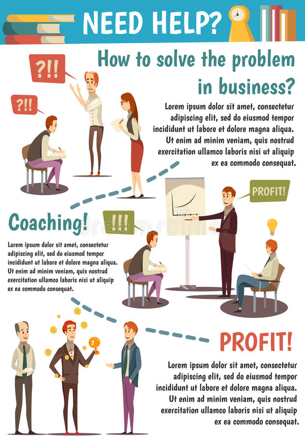 Business Trainings And Coaching Flowchart. With experts speaking about achievement of goals on white background vector illustration vector illustration
