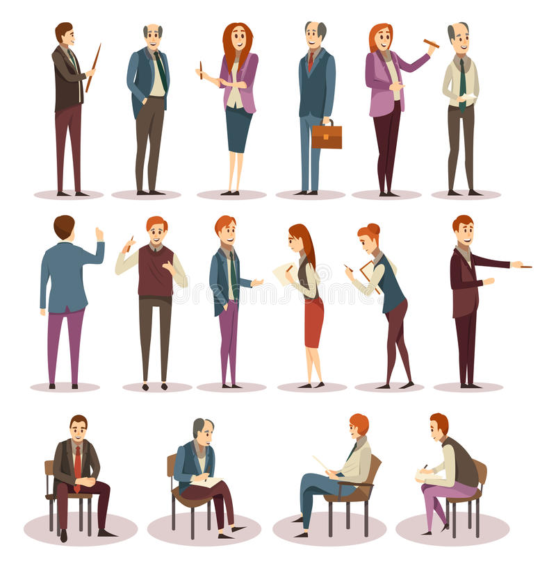 Business Trainings And Coaching Icons Set royalty free illustration