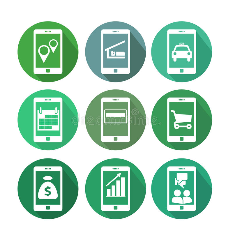 Business transaction icons using mobile phone stock illustration