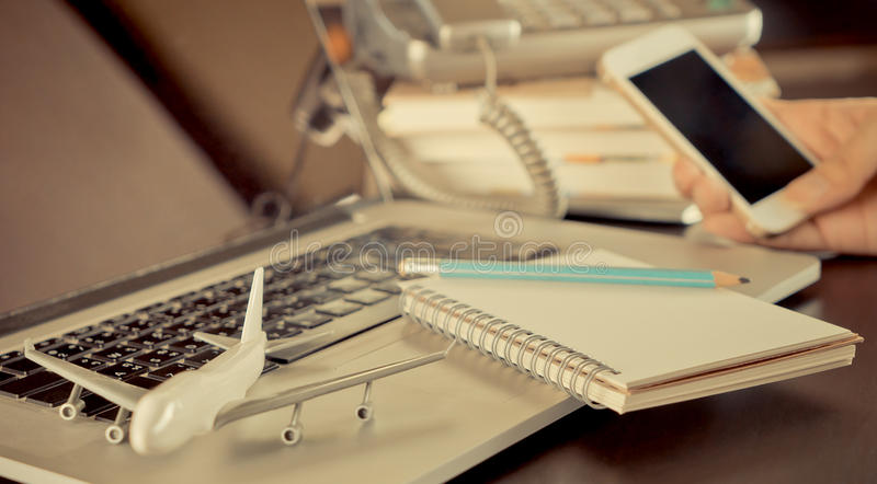 Business Travel Agency on office desk royalty free stock images