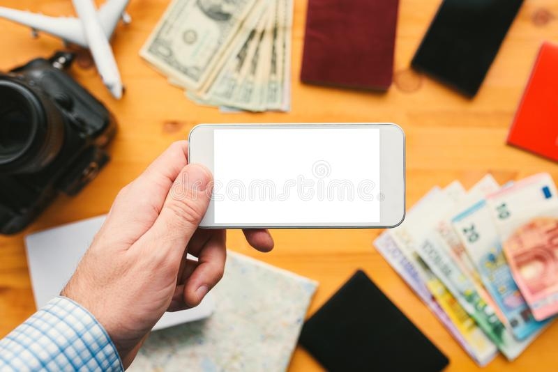 Business travel app for mobile phone mock up screen royalty free stock photos