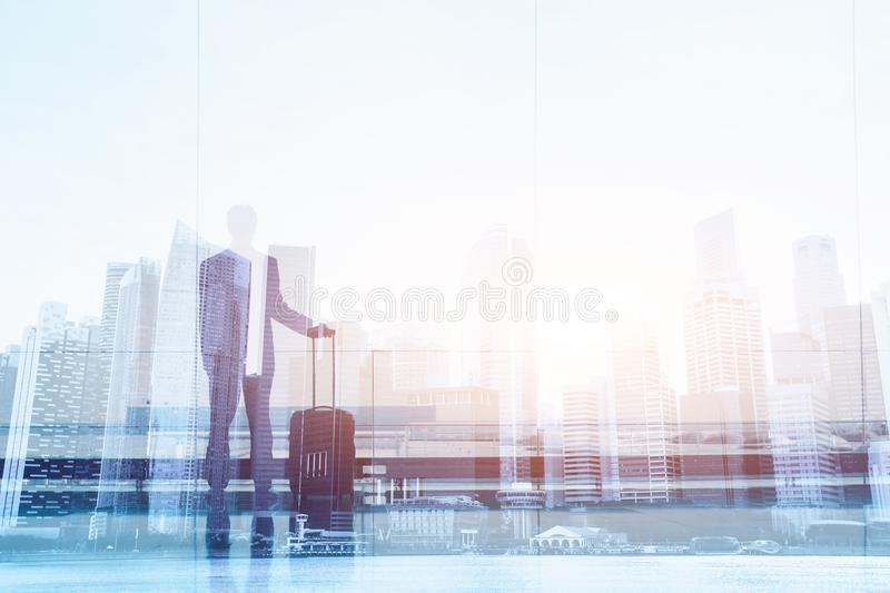 Business travel, double exposure of businessman in the airport stock photos