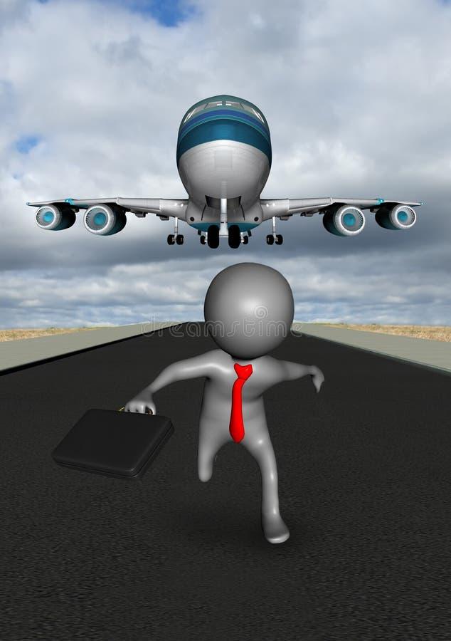 Business Travel Plane Landing Runway stock illustration