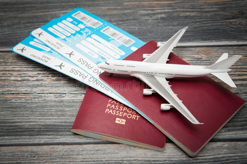 Business travel traveling world concept. Ticket flight air plane travel business traveller trip passport traveler airplane passenger journey air ticket booking stock image
