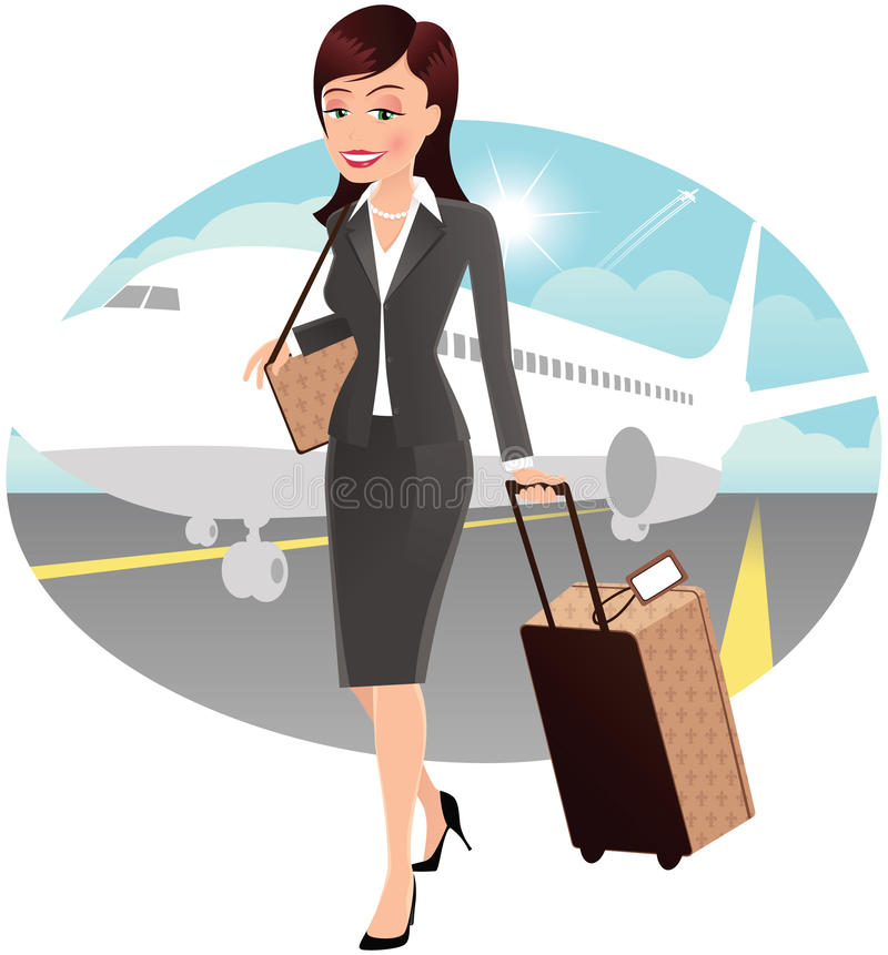 Business travel woman vector illustration