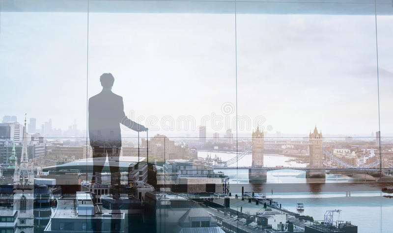 Business traveler, double exposure stock photo