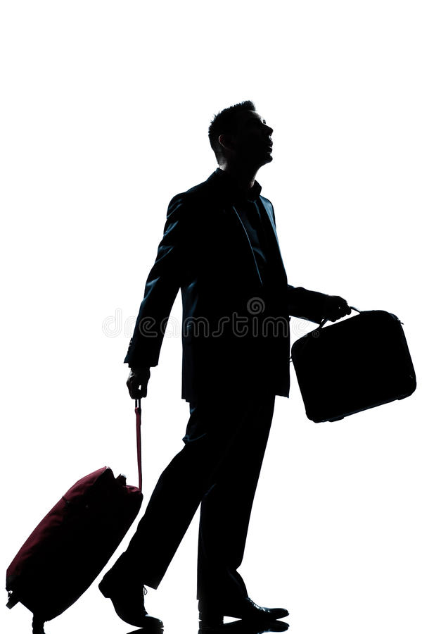 Business traveler man lost looking up stock photography