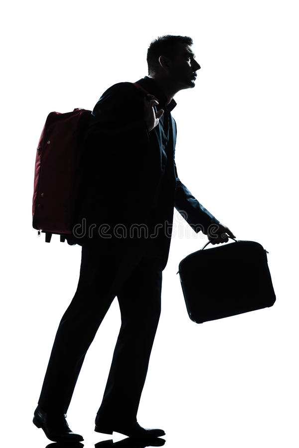 Business Traveler Man Walking With Suitcase Royalty Free Stock Images