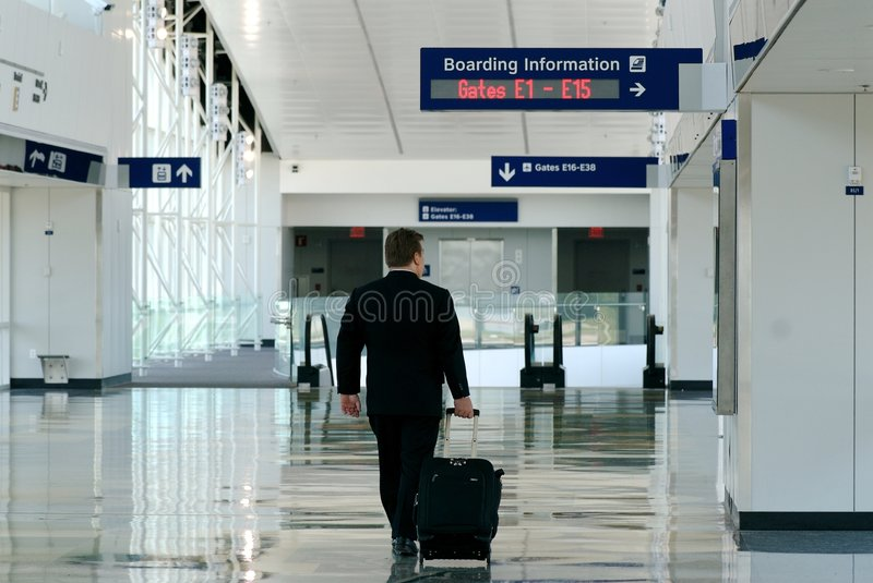 Business traveller in terminal royalty free stock image