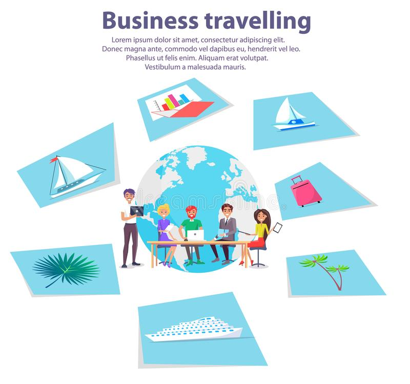 Business Travelling Agency Advertisement Banner royalty free illustration