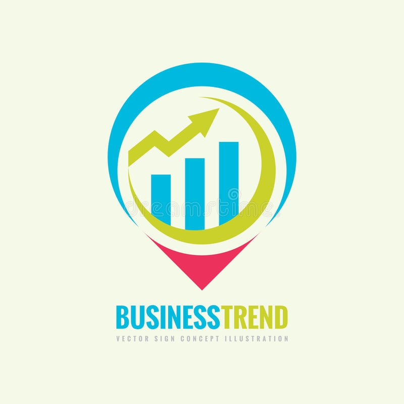 Business trend vector logo template concept illustration. Infographic chart and arrow creative sign. Location map place symbol. royalty free illustration