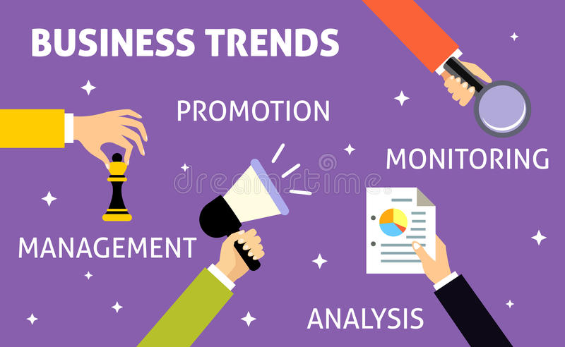 Business trends hands vector illustration