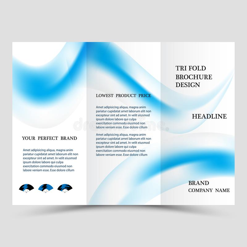 Business tri fold brochure design. Blue corporate business template for tri fold flyer. Layout with modern shaped photo vector illustration