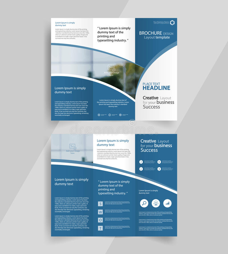 3 folded brochure template - business tri fold brochure layout design emplate stock