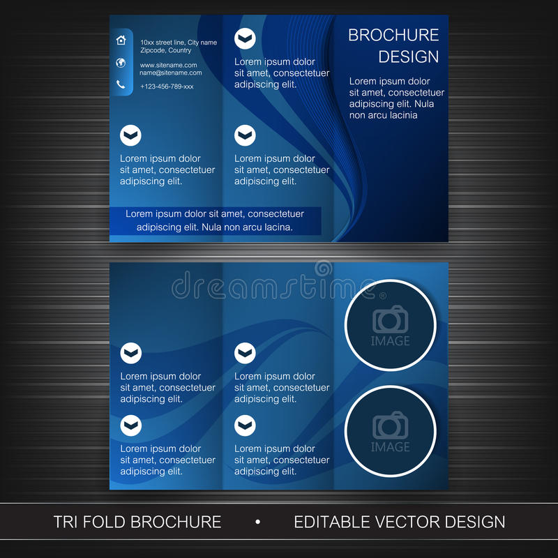Business tri-fold flyer template, brochure or cover design. Design with place for your content royalty free illustration