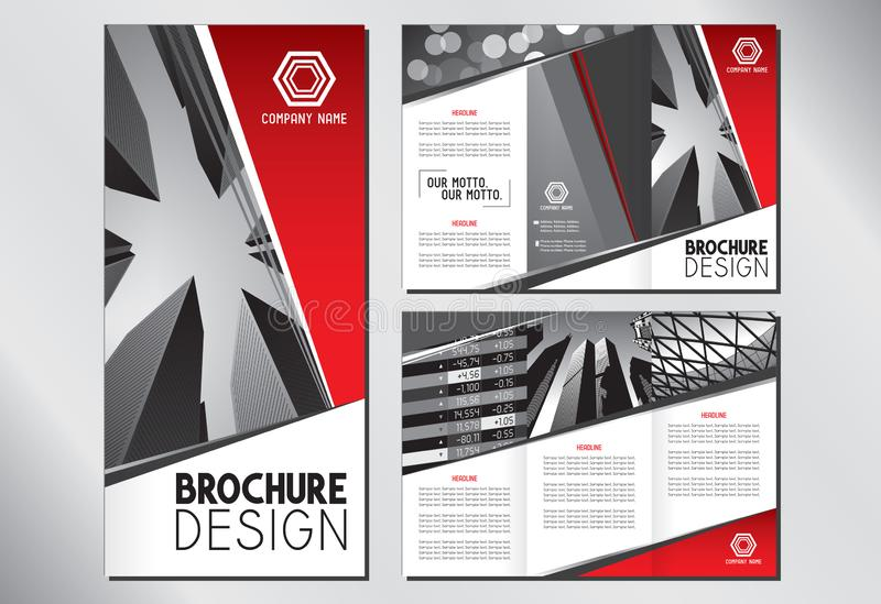 Business trifold brochure template A4 to 3xDL format - 297x210mm 皇族释放例证