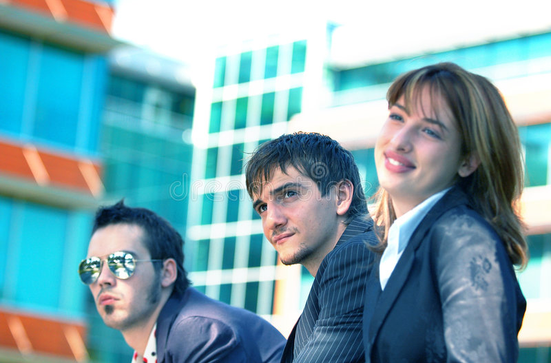Business Trio 3 Blue Tint stock images