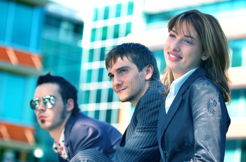 Business Trio 4 Blue Tint royalty free stock photos
