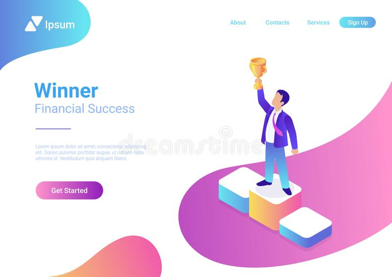 Business trophy award winner concept flat 3d web i. Business trophy rating award winner concept vector flat 3d web isometric infographic. Businessman on first stock illustration