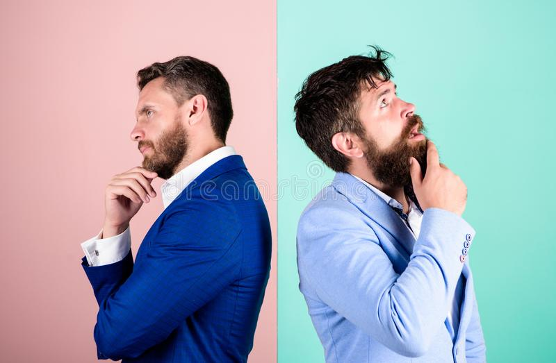 Business in trouble concept. Business misunderstanding. Business team work on solving problem. Different point of view. Opinion difference. Businessmen royalty free stock photos