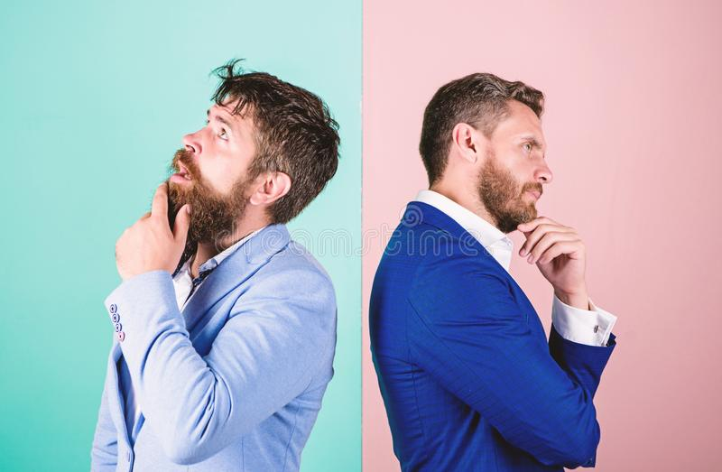 Business in trouble concept. Business misunderstanding. Business team work on solving problem. Different point of view. Opinion difference. Businessmen royalty free stock image