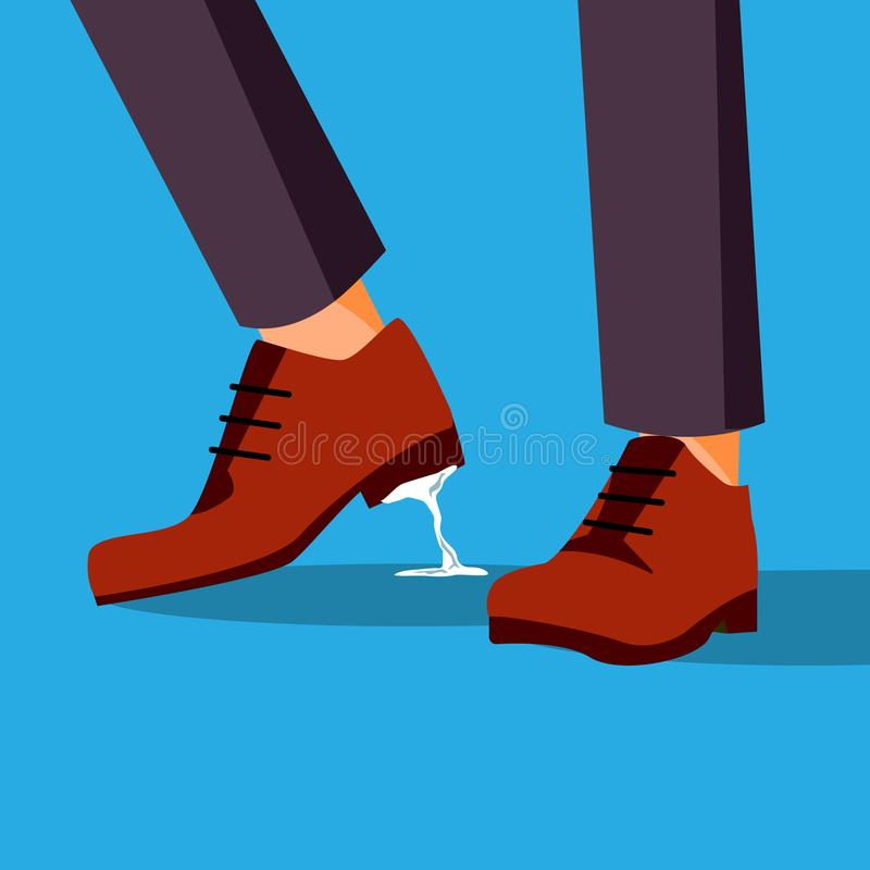 Business Trouble Stuck Vector. Feet. Businessman Shoe With Chewing Gum. Wrong Step, Decision. Cartoon Illustration stock illustration