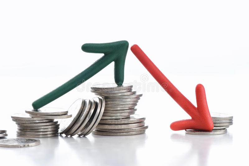 Business uncertainty concept and risk idea. Arrow up and down with coins on white background, business uncertainty concept and risk idea stock images