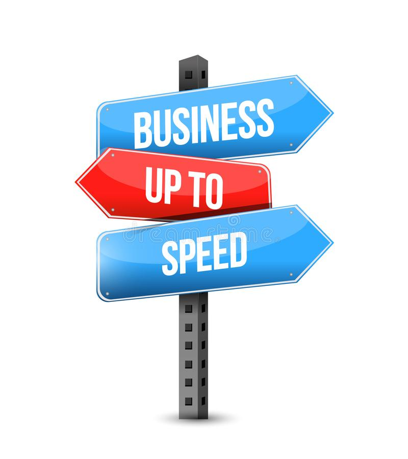Business up to speed multiple destination color street sign stock illustration