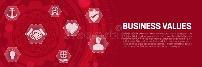 Business Values Abstract Banner Background with Icons. Business Values Abstract Banner Corporate Business Background with Icons stock illustration