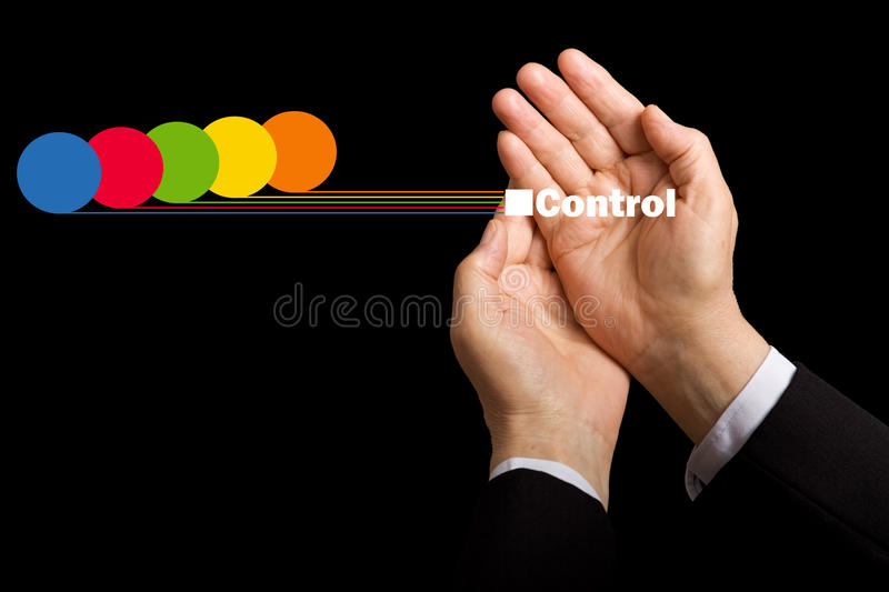 Business values - resource awareness. And cost control concept with hands collecting data royalty free stock photos