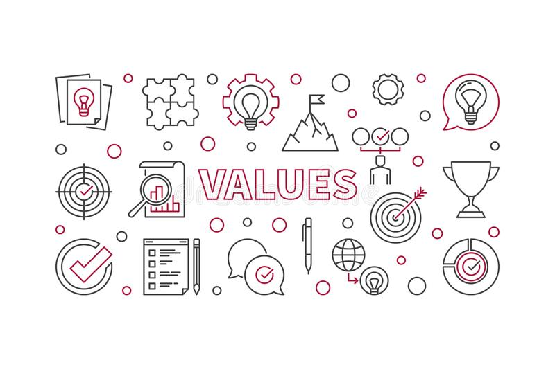 Business Values vector horizontal outline illustration. Business Values vector horizontal concept minimal outline illustration vector illustration