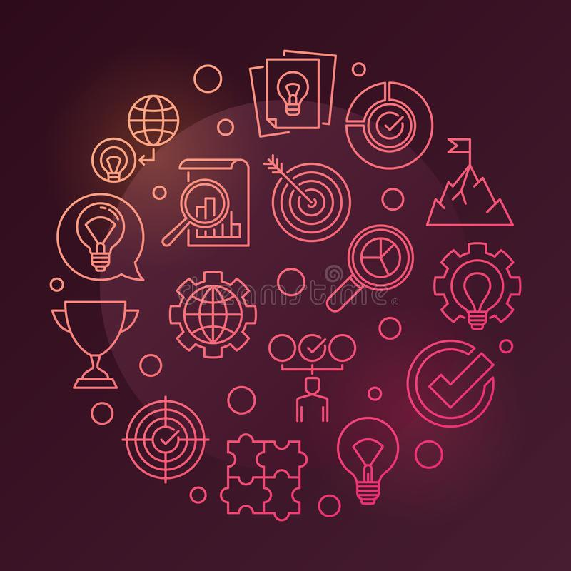 Business Values vector round colored linear illustration. On dark red background vector illustration