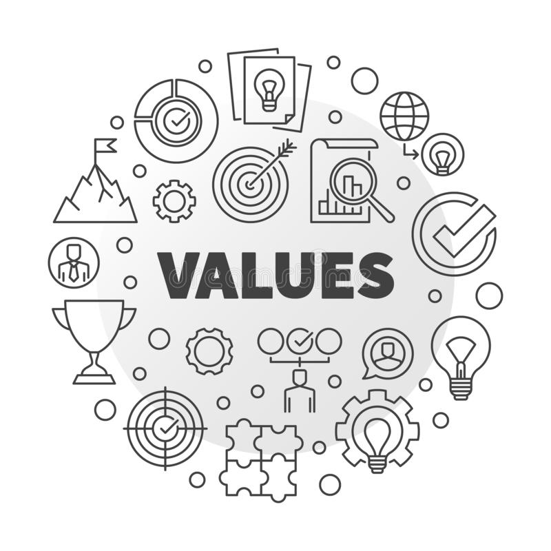 Business Values vector round minimal outline illustration. Business Values vector round concept minimal outline illustration vector illustration