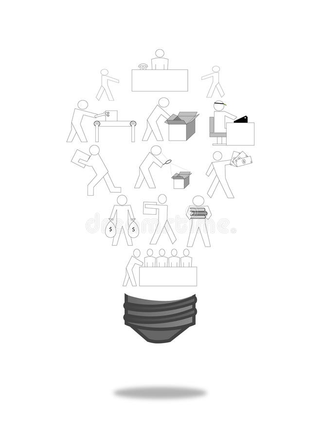Business various icon on light bulb style. Isolated royalty free stock photography