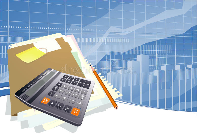 Business vector background. With charts and calculator