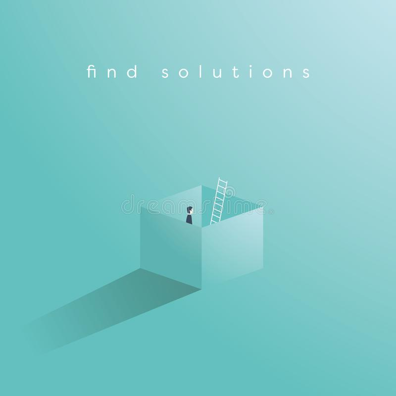 Business vector concept of finding solution by thinking outside the box. Creative problem solving, overcome obstacles stock illustration