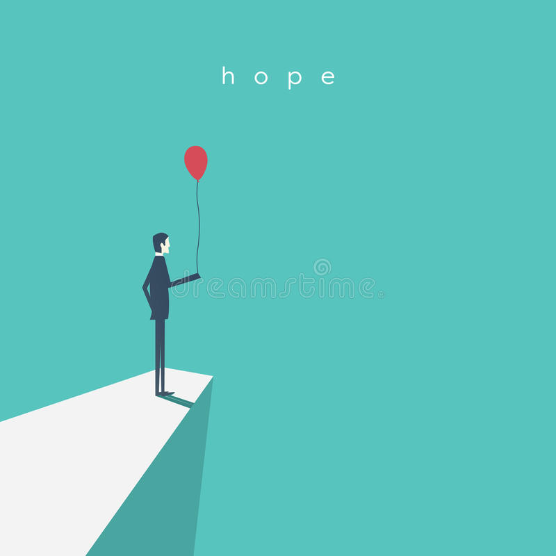 Business vector concept of hope, success, future. Businessman standing with red balloon. stock illustration