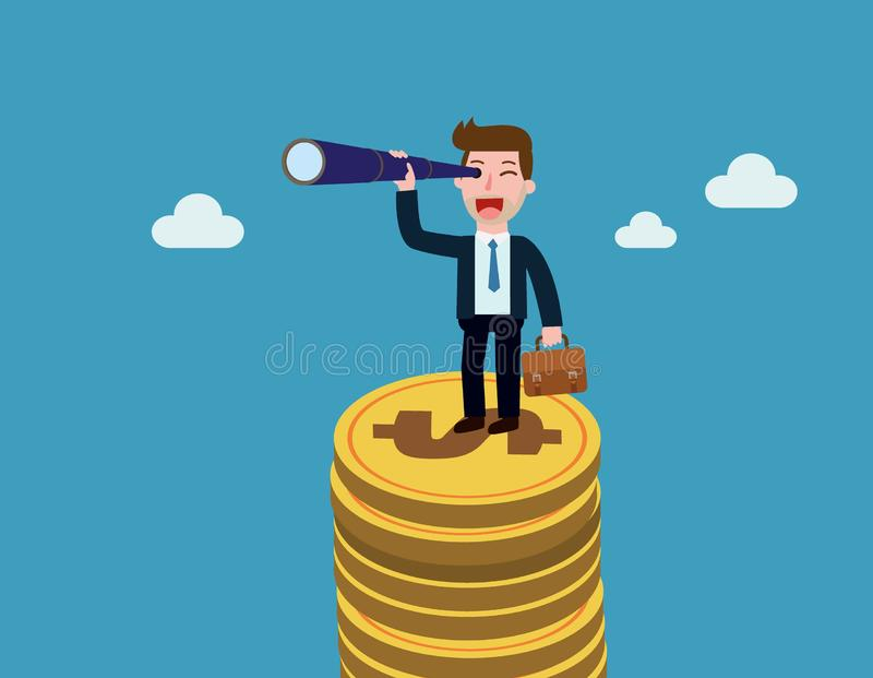 Business Vector flat cartoon design. banner background concept royalty free illustration