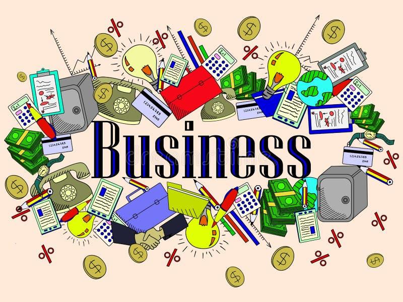 Business vector illustration. Business line art design vector illustration. Separate objects. Hand drawn doodle design elements stock illustration