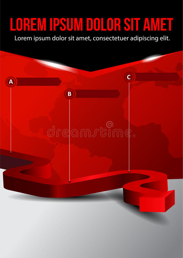 Business vector red background with three step vector illustration
